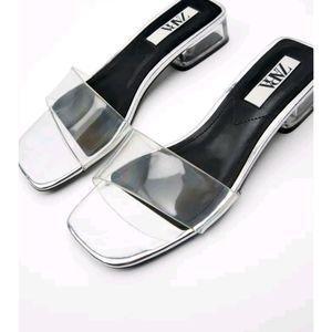 New Zara silver mid heel sandals shoes